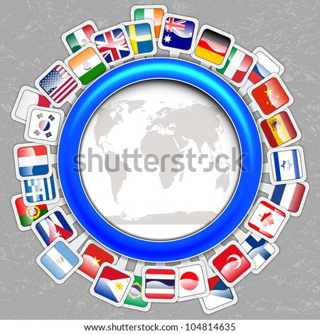 world flags with map vector - stock vector