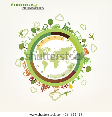 world, global ecology concept, environmental icons - stock vector