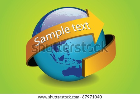 world globe and arrow concept vector - globe and world vector concept with looping arrow