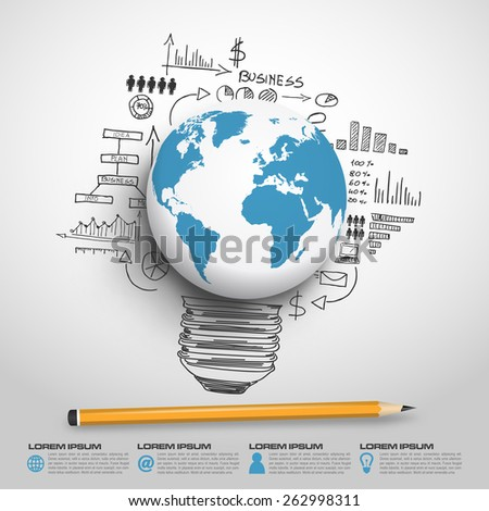 World globe concept infographic in vector format - stock vector