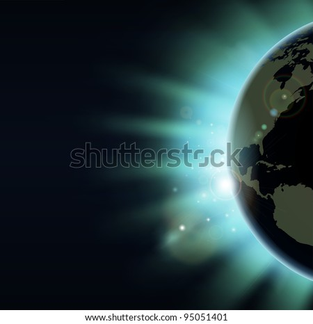 World globe eclipse concept illustration. America side of the world showing. - stock vector