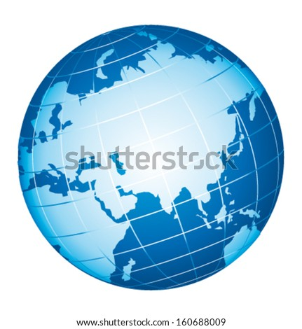 World globe icon. Asian and Russian view. Vector icon. - stock vector
