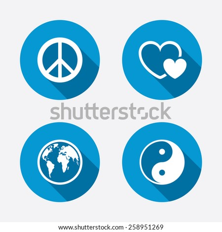 World globe icon. Ying yang sign. Hearts love sign. Peace hope. Harmony and balance symbol. Circle concept web buttons. Vector - stock vector
