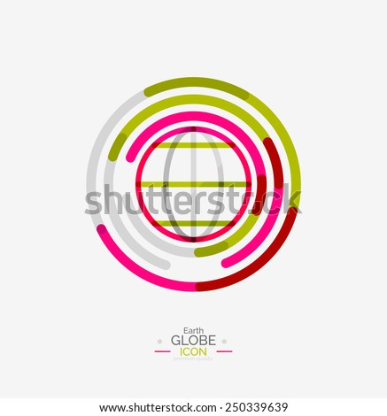World globe logo stamp, minimal line design concept - stock vector