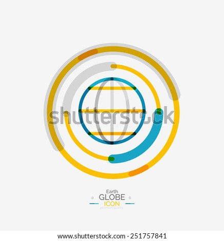World globe logo stamp, minimal line design concept - stock vector