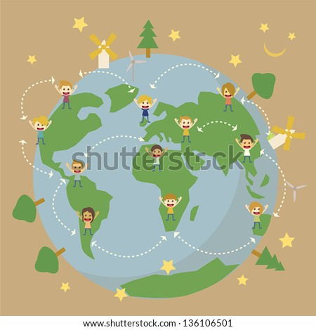 World Globe map,children around the world save the planet earth - stock vector