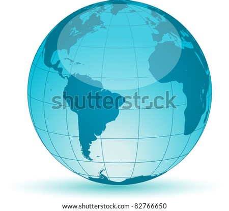 World globe map isolated on white background. Vector illustration.