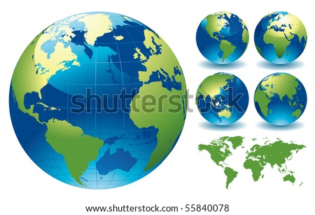 World Globe Maps Editable Vector Illustration Stock Vector - Globe map of the world