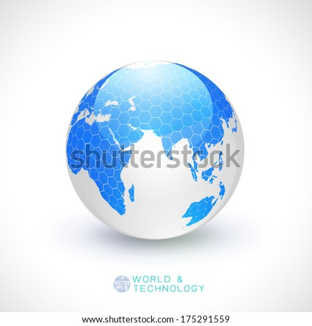 World globe transparency and tech concept isolated white background, vector illustration