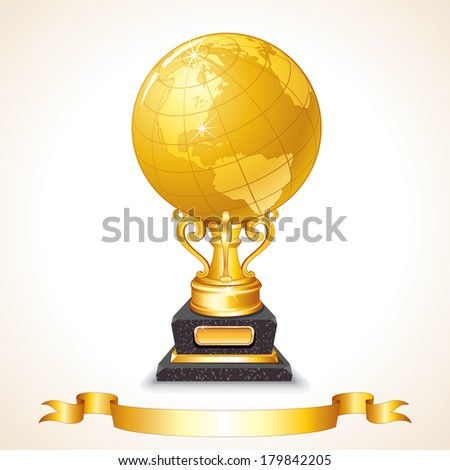 World Globe Trophy Cup. Vector - stock vector