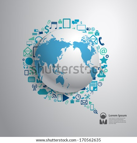 World globe with app icon, Business software and social media networking service concept, Vector illustration modern template design, Vector illustration modern template design - stock vector