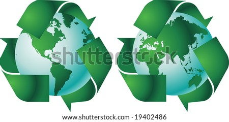 World globe with recycle signs vector