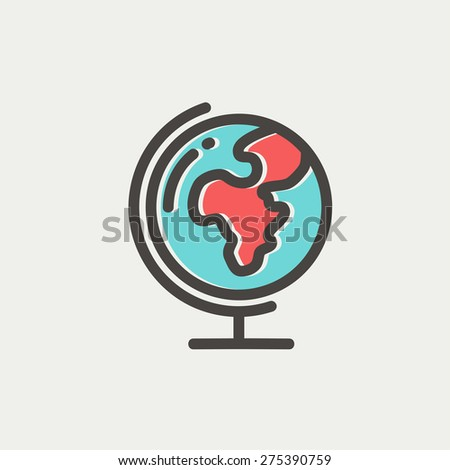 World globe with stand icon thin line for web and mobile, modern minimalistic flat design. Vector icon with dark grey outline and offset colour on light grey background. - stock vector