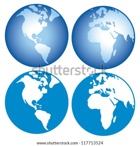 world globes icons showing earth with all continents