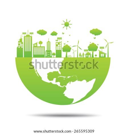 world Green ecology City environmentally friendly  - stock vector