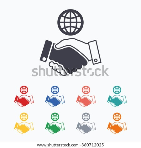 World handshake sign icon. Amicable agreement. Successful business with globe symbol. Colored flat icons on white background. - stock vector