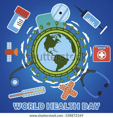 World health day concept with earth globe. First aid kit, medicine and healthcare concept. Flat illustration with icons. - stock vector