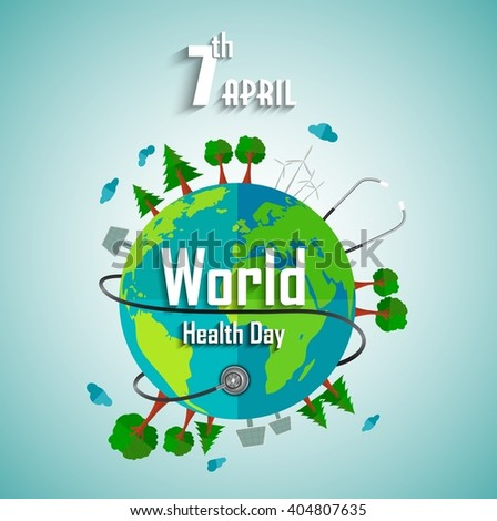 World health day concept with environmental of earth.vector