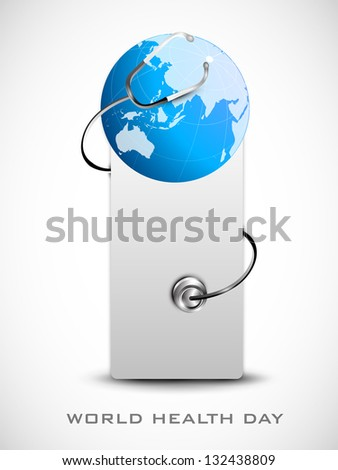 World health day concept with globe. - stock vector