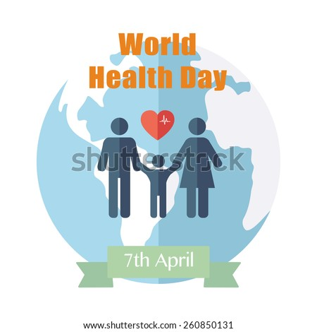 World Health Day. Concept with globe. Vector - stock vector