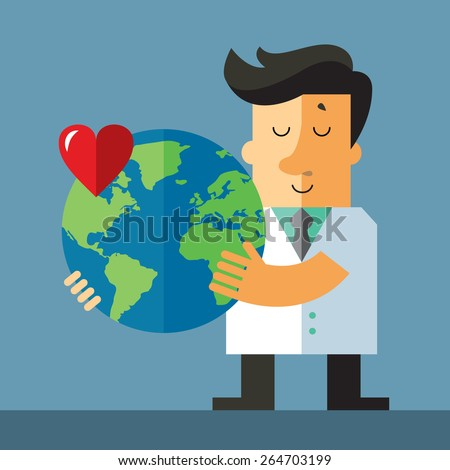 World health day. Doctor hold globe. Flat vector illustration. - stock vector