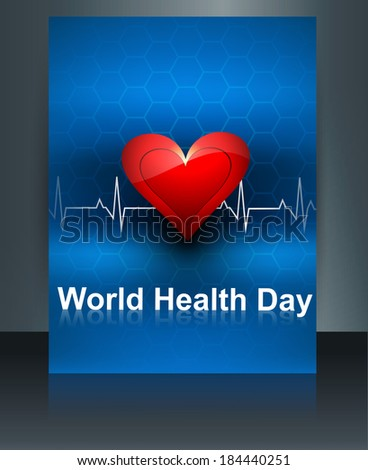 World health day template brochure with heart beats medical colorful design vector illustration