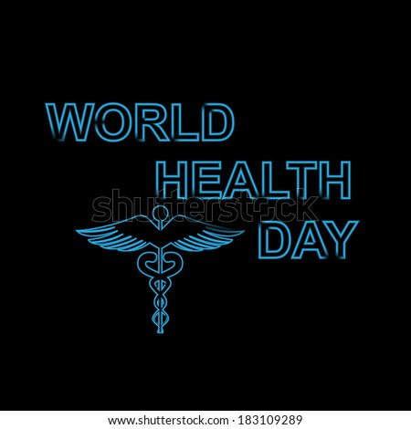 World health day text concept medical black colorful background on caduceus medical symbol vector - stock vector