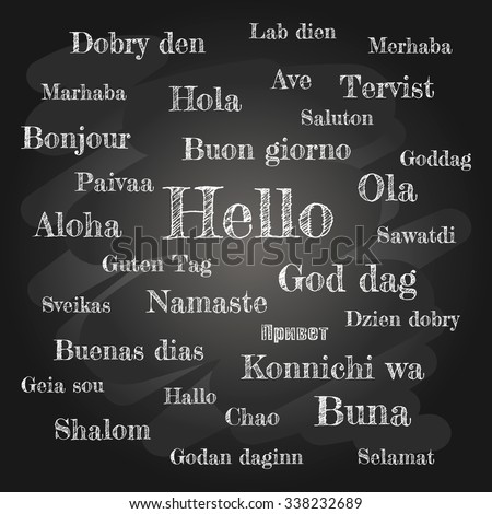 "World Hello Day, Holiday November 21 International celebration. Card Chalkboard inscription word ""Hello"" on different languages English, German, Italian, French, Russian, Spanish, Japanese, Arabic"
