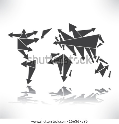 World in Arrows - stock vector