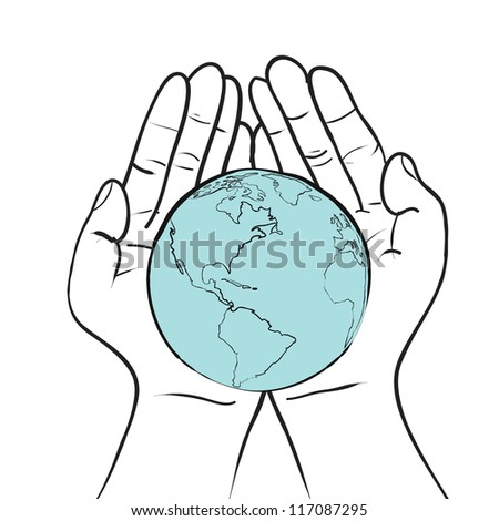 world in hand responsibility concept sketch vector - stock vector