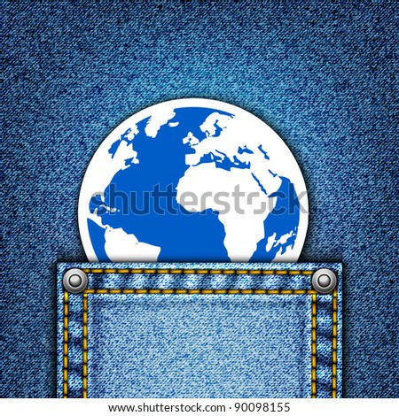 World in pocket. Realistic vector denim background. - stock vector