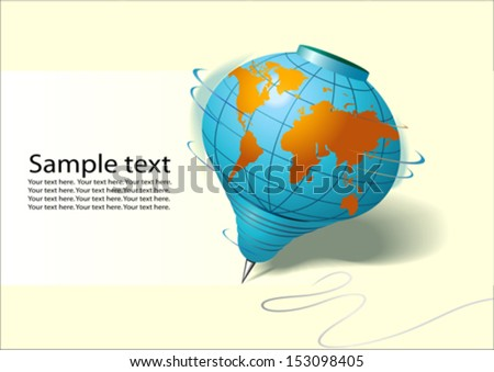 World in Spinning Top Shape - Vector - stock vector