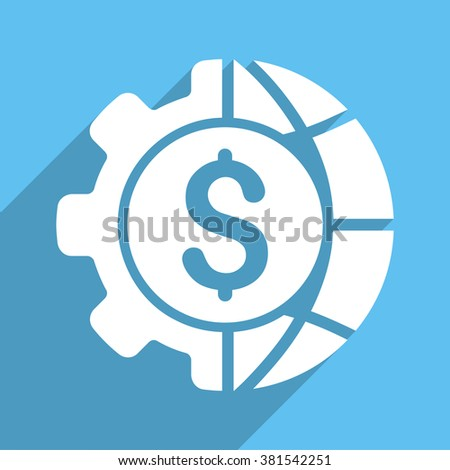 World Industry Finances long shadow vector icon. Style is a white flat symbol on a light-blue square background. - stock vector
