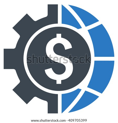 World Industry Finances vector icon. Style is bicolor flat symbol, smooth blue colors, white background. - stock vector