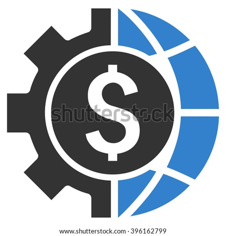 World Industry Finances vector icon. Style is flat symbol, cobalt color, white background. - stock vector