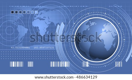 World Infographical Interface. Vector CG background designed in techno/military/science style.