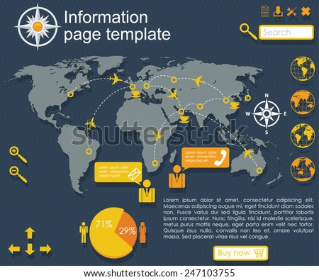 world information board - stock vector