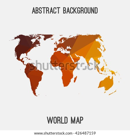 World,international map in geometric polygonal style.Abstract tessellation,modern design background. Vector illustration EPS8 - stock vector