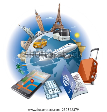 world journey - stock vector