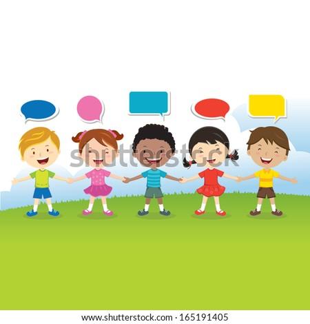 World kids friends, International friendship day! - stock vector