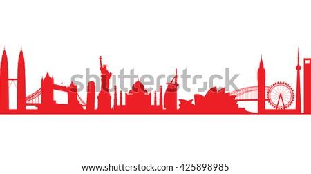 world landmark group in red - stock vector