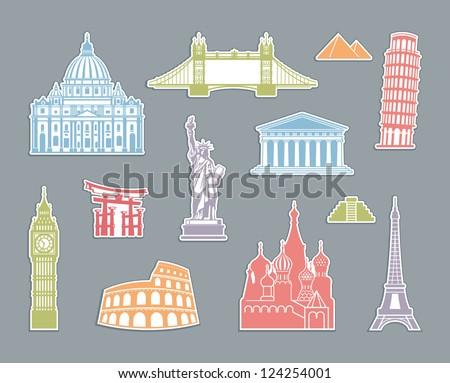 World Landmark Icon Set - stock vector