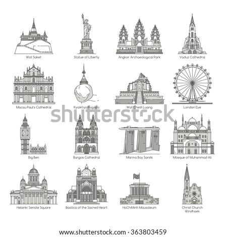 World Landmark Icon Set , eps10 vector format - stock vector