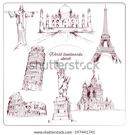 World landmark sketch set of eiffel tower kremlin statue of liberty isolated vector illustration