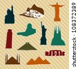 World landmark sticker silhouettes. Vector file layered for easy manipulation and custom coloring. - stock vector