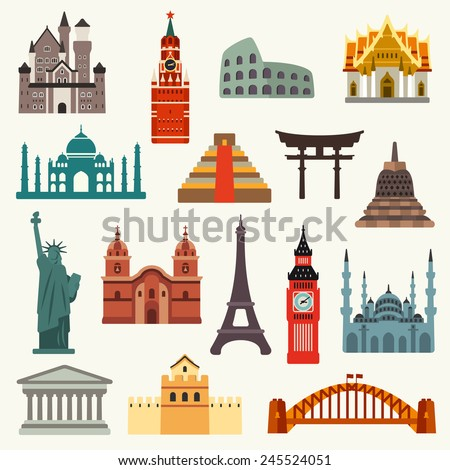 World Landmarks - stock vector