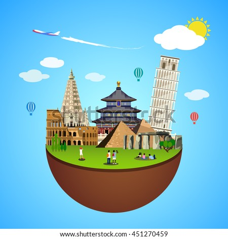 World landmarks concept. Vector illustration for travel design. Famous ancient symbol icon. Tourism city place culture architecture. Italy, Chine, USA, Egypt, Mexico, Asia. Cartoon trip tour monument. - stock vector