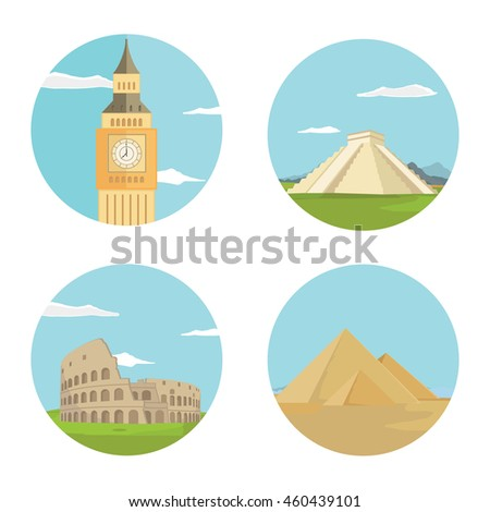 World landmarks flat icon set. Vector travel app web site monument sign. Egypt pyramid, Colosseum, Big Ben and Chichen itza - stock vector