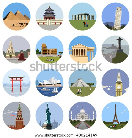 World landmarks flat icon set. Vector travel app web site monument sign. Egypt pyramid, Stonehenge, Colosseum, Italy Pantheon, sydney theater, statue of liberty, Taj Mahal, eiffel tower, Pisa, Big Ban - stock vector