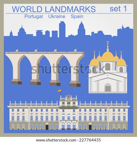 World landmarks icon set. Elements for creating infographics. Vector illustration - stock vector